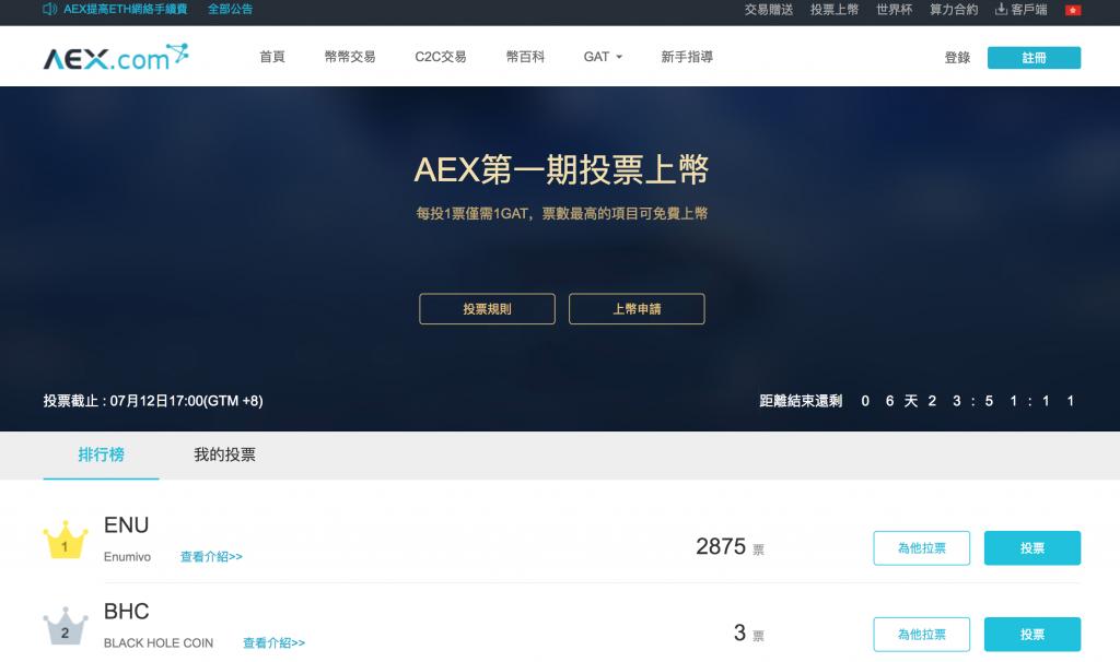 ENU 上币投票冲击 aex.com 交易所,请把力量借给我!